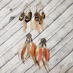 Dreamcatcher Feather Earrings Set